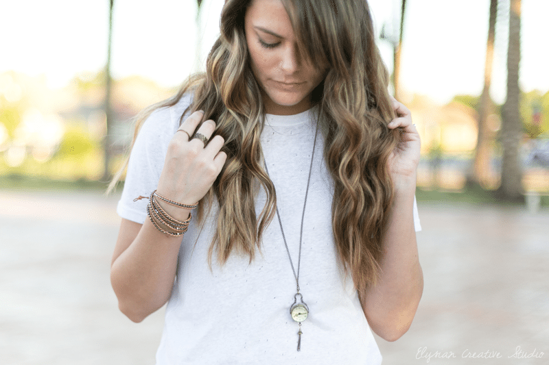 Fall Outfit: Distressed White Tee & Bohemian Accessories // www.thinkelysian.com