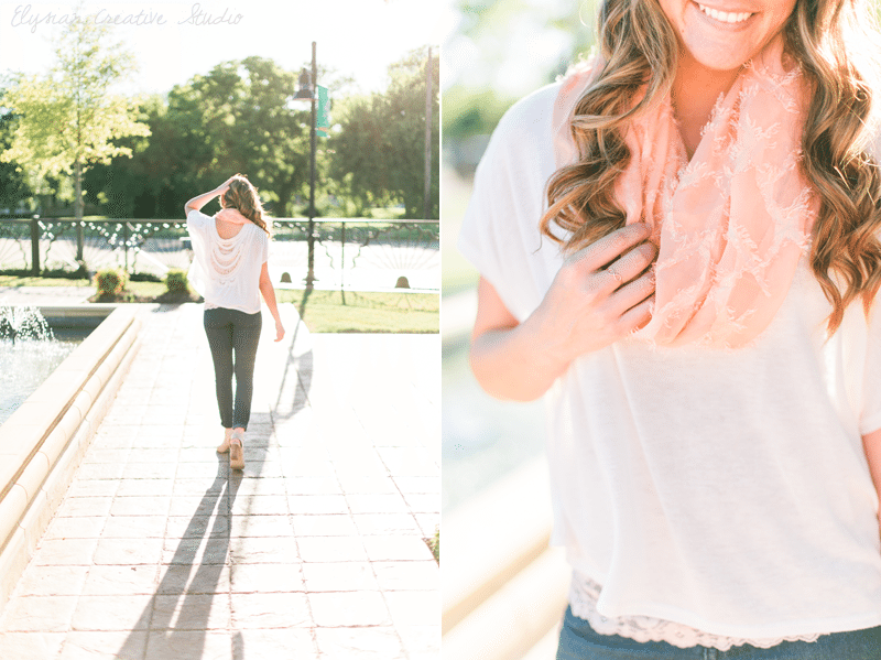 Think Elysian Style + Travel blog - houston TX blogger - casual fall style // nude peep toe chunky heels, crochet detail, light scarf