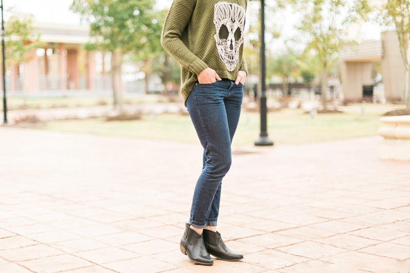 This oversized sweater with a unique lace skull detail pairs perfectly with these edgy ankle boots! See the full details on the blog! // www.thinkelysian.com