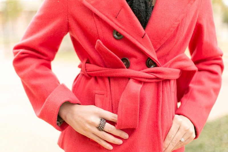 Red Peacoat & Suede Wedges are my winter uniform! // www.thinkelysian.com