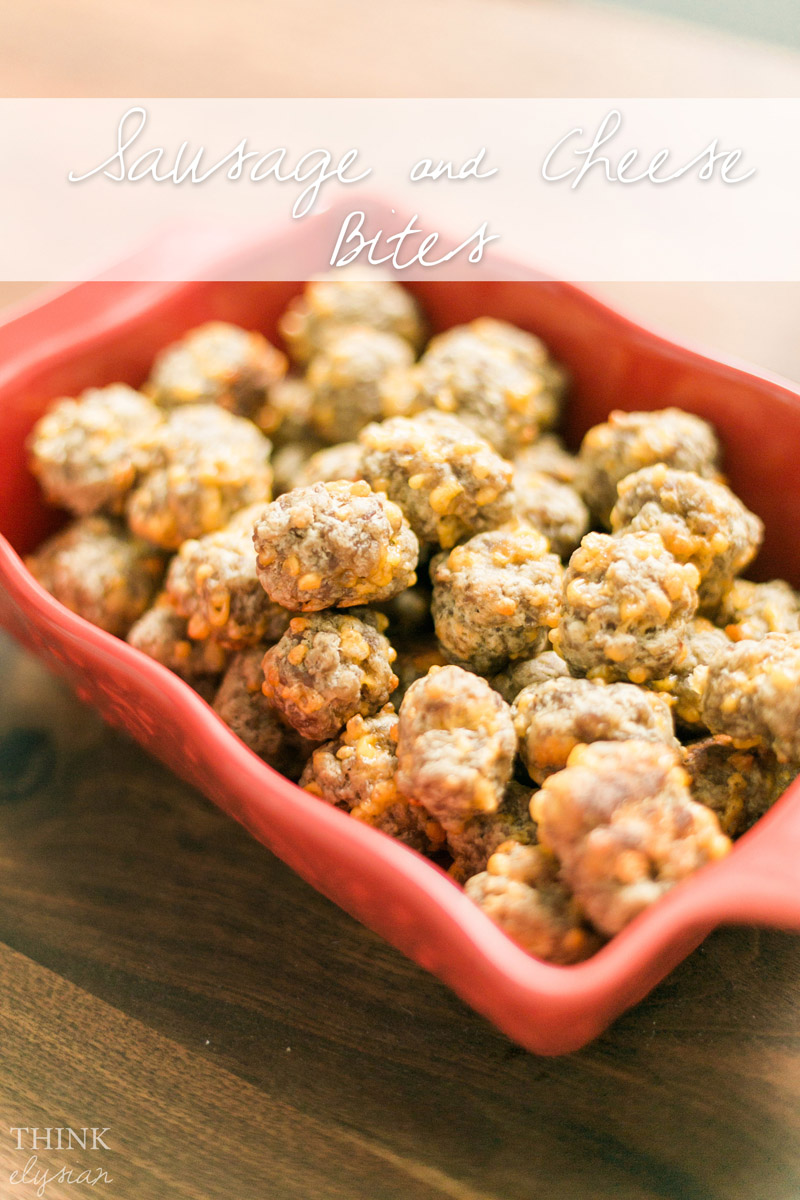 This easy Sausage & Cheese bites recipe is a perfect snack or appetizer for game days and parties! Find out the 3 ingredients on www.thinkelysian.com