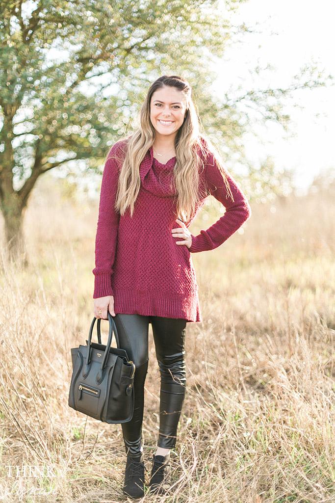 Oversized Sweater & Leather Leggings with Celine Bag // www.thinkelysian.com