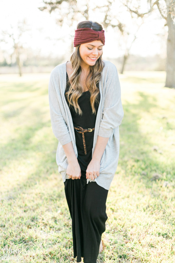 Boho chic maxi dress styled with a knit headband and leopard print skinny belt // www.thinkelysian.com