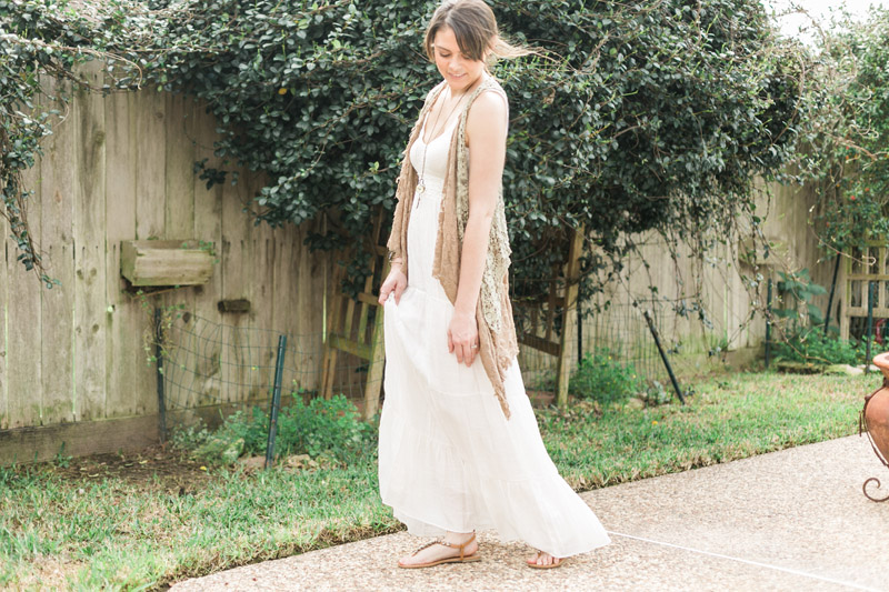 Boho Lace Crochet Vest with Linen Maxi Dress // www.thinkelysian.com