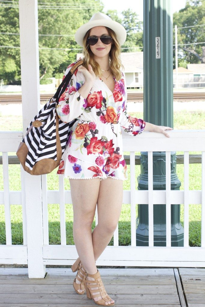 Julie from Calo's Closet style blog wearing Think Elysian Boutique Floral Romper - www.thinkelysian.com