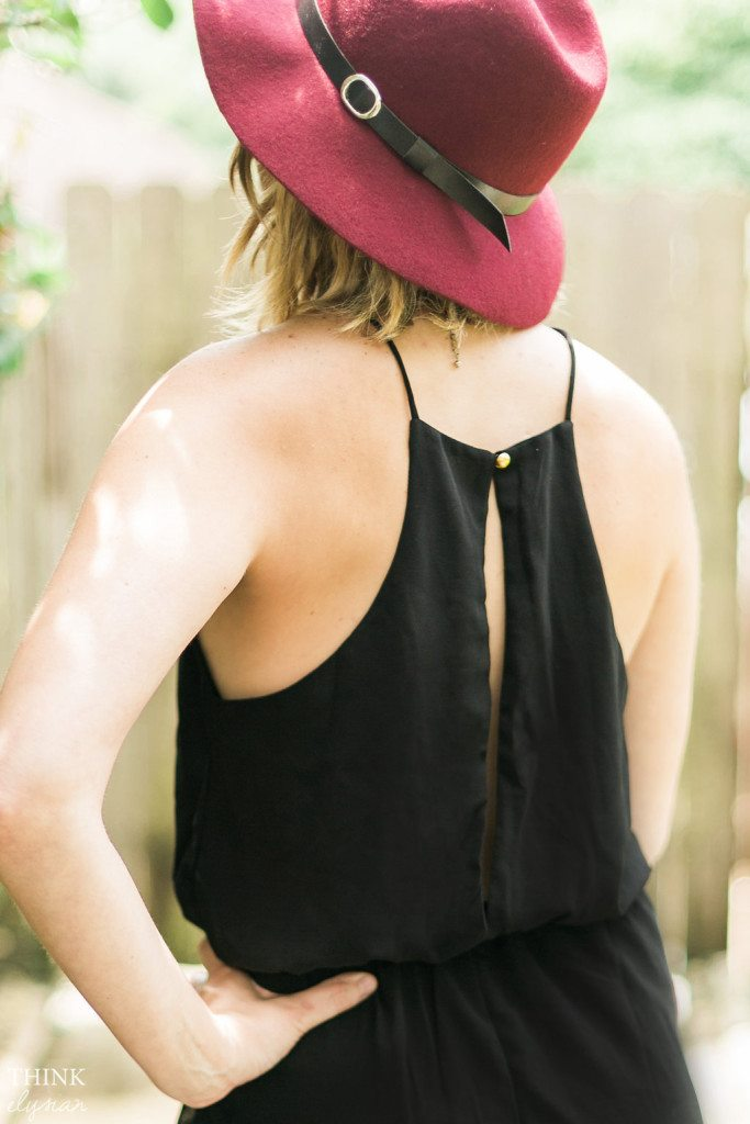 Black Romper + Boho Hat + Ankle Boots - Summer to Fall transition outfit from Think Elysian Boutique // www.thinkelysian.com