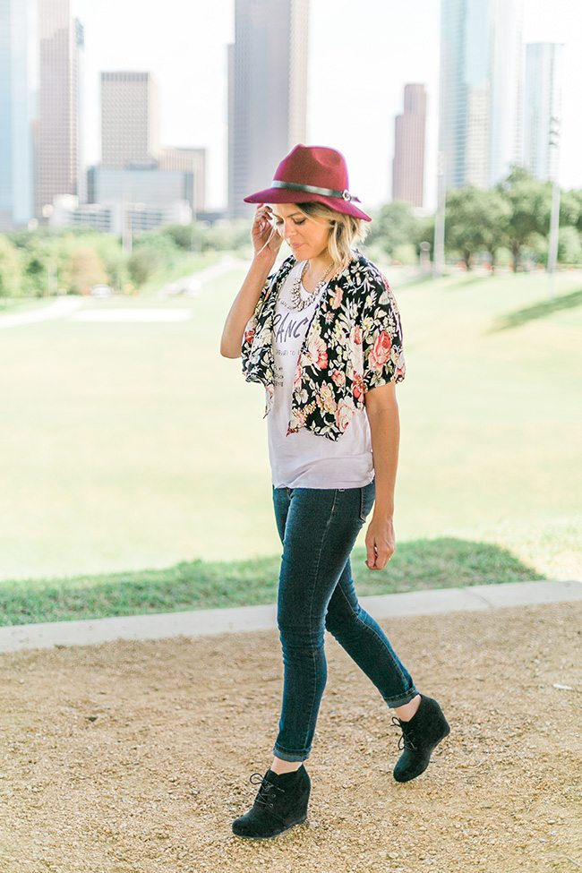 Fall Fashion: Floral Kimono + Boho Hat + Suede Wedges + Bauble Necklace // OOTD www.thinkelysian.com