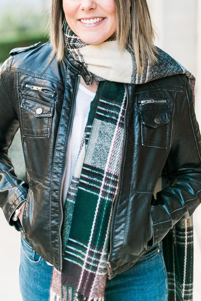Come to the dark side! See how I styled this sleek leather jacket with Think Elysian Boutique's Nixie plaid scarf. Fresh exciting colors! // www.thinkelysian.com