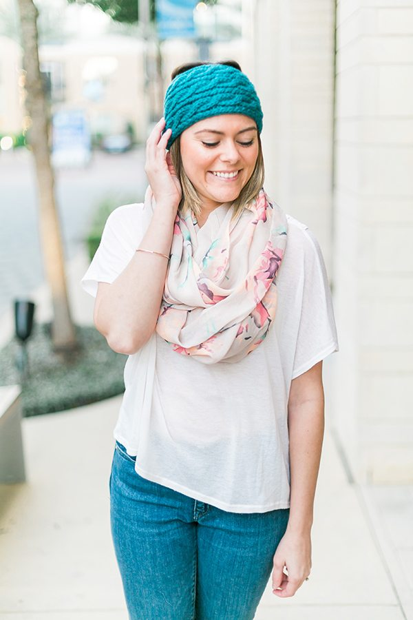 Spring is near! See how I style this blue winter headband with a light floral scarf & combat boots! // www.thinkelysian.com